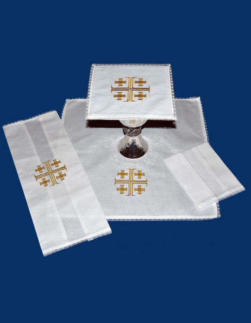 Colored Jerusalem Cross Embroidered Altar Linens | Linen/Cotton