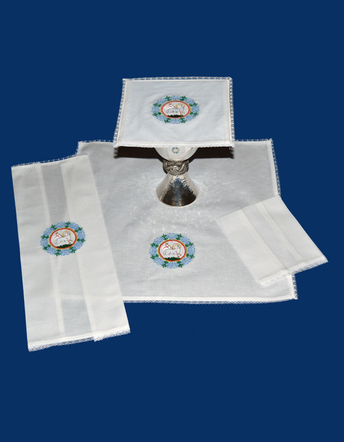 Colored Paschal Lamb Embroidered Altar Linens | Linen/Cotton