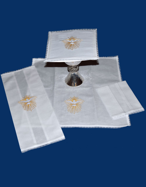 Colored Holy Spirit Embroidered Altar Linens | Linen/Cotton