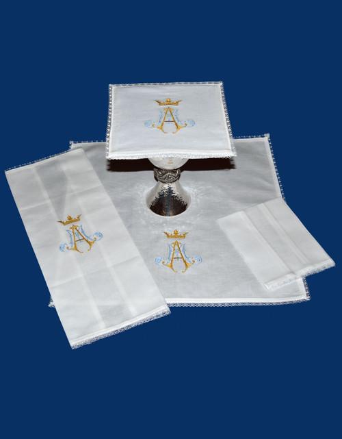 Marian Embroidered Altar Linens | Linen/Cotton