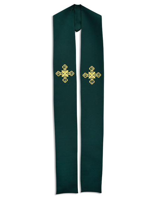 #781 Gold Cross Embroidered Overlay Stole | All Colors