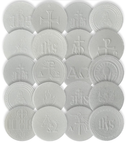 "2-7/8"" White Hosts with Embossed Liturgical Designs 