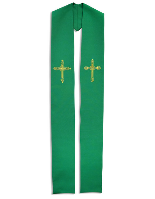 #787 Gold Cross Embroidered Overlay Stole | All Colors