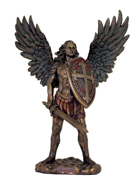 "13.5"" St. Michael Armor Of God Statue | Cold-Cast Bronze"