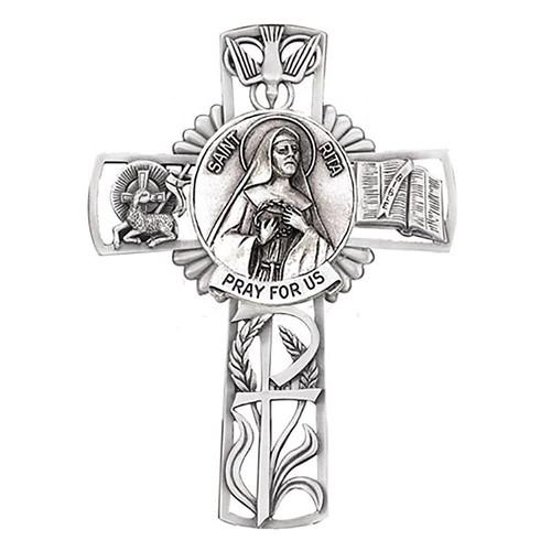 "5"" St. Rita Wall Cross | Pewter"