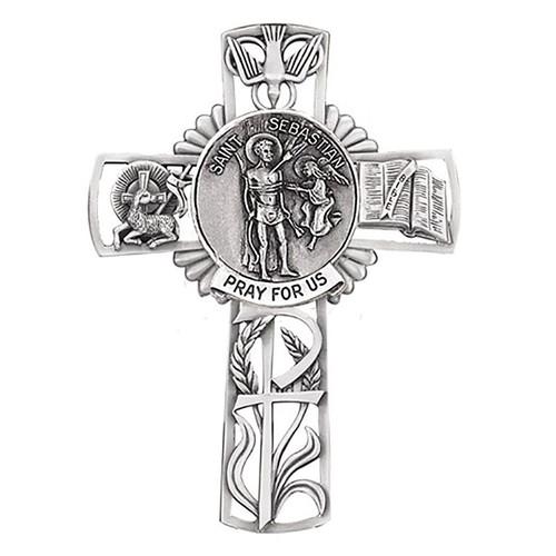 "5"" St. Sebastian Wall Cross | Pewter"
