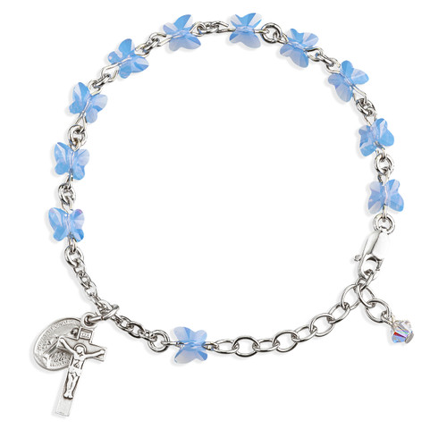 Sterling Silver Rosary Bracelet Created with 6mm Blue Opal Swarovski Crystal Butterfly Beads