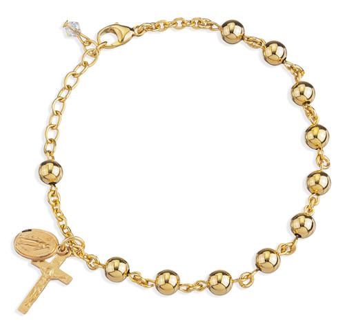 High Polished Round Gold Over Sterling Silver Rosary Bracelet