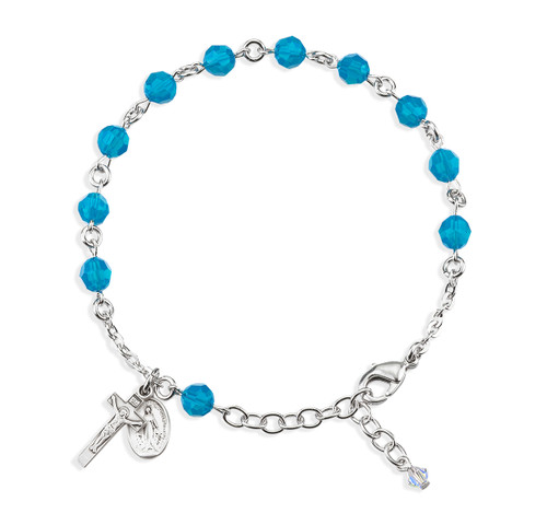 Sterling Silver Rosary Bracelet Created with 6mm Caribbean Blue Swarovski Crystal Round Beads