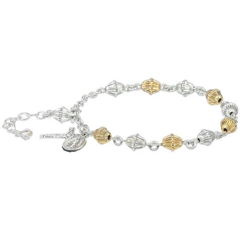 Corrugated Gold Over Sterling Rosary Bracelet