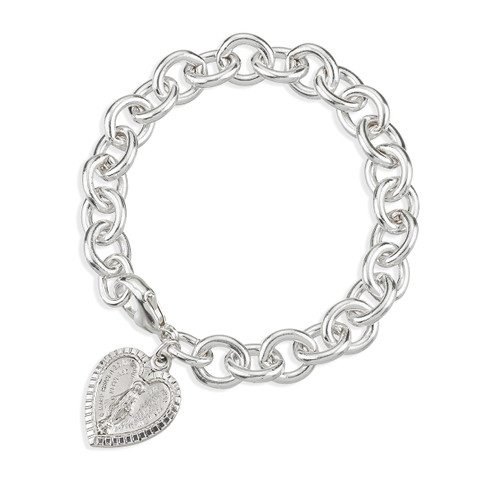 Extra Heavy Solid Sterling Silver Link Style Bracelet with Heart Shape Miraculous Heart Charm