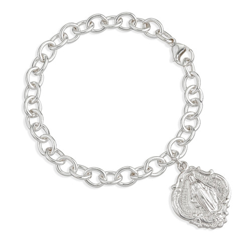Solid Sterling Silver Linked Bracelet with Hail Mary Miraculous Medal Charm