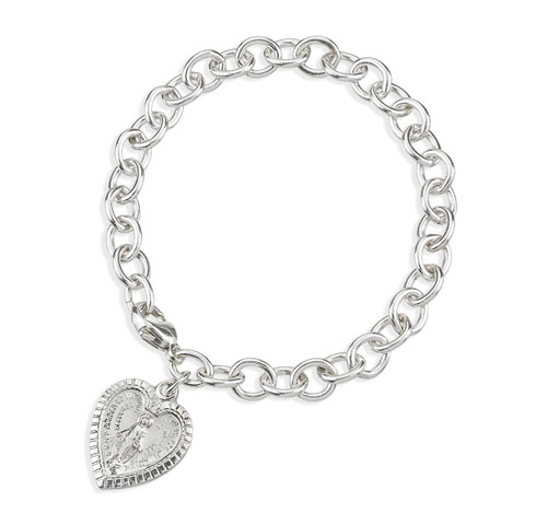 Solid Sterling Silver Linked Bracelet with Heart Shape Miraculous Medal Charm