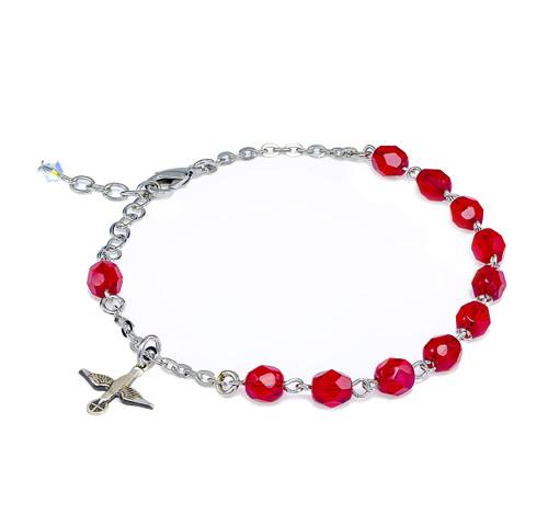 Red Bead Rosary Bracelet