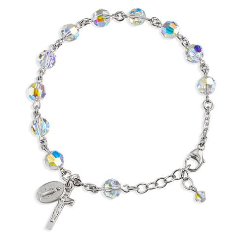 Rosary Bracelet Created with 7mm Aurora Borealis Swarovski Crystal Round Beads