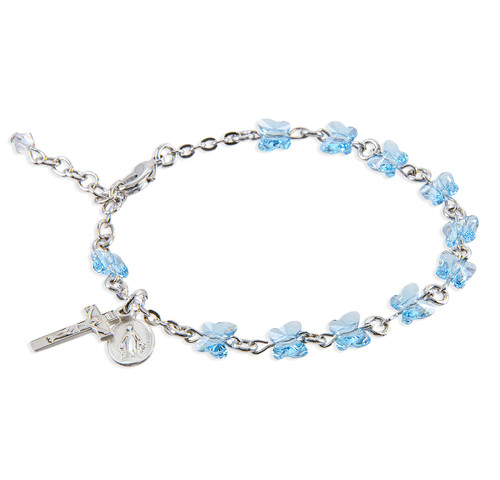 Rosary Bracelet Created with 6mm Aqua Swarovski Crystal Butterfly Beads
