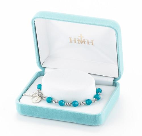 Rosary Bracelet Created with 6mm Caribbean Blue Swarovski Crystal Round Beads