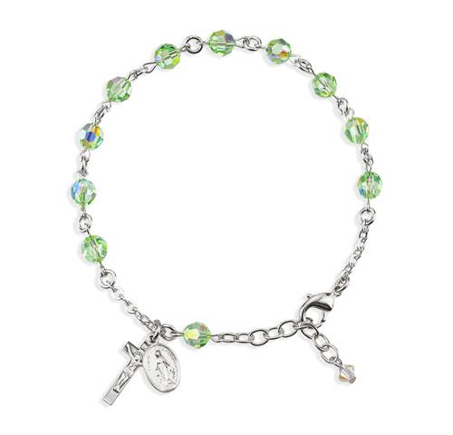 Rosary Bracelet Created with 6mm Chrysolite Swarovski Crystal Round Beads