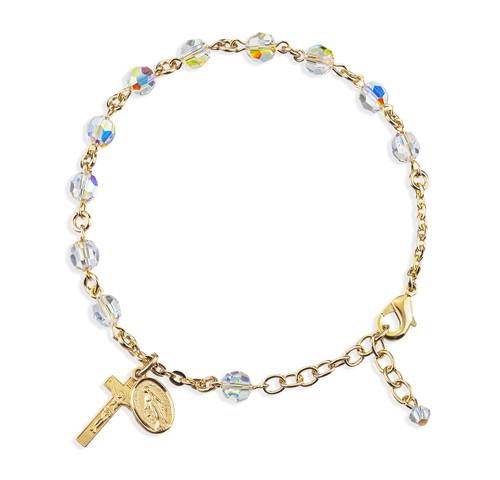 Gold Plated Rosary Bracelet Created with 6mm Aurora Borealis Swarovski Crystal Round Beads