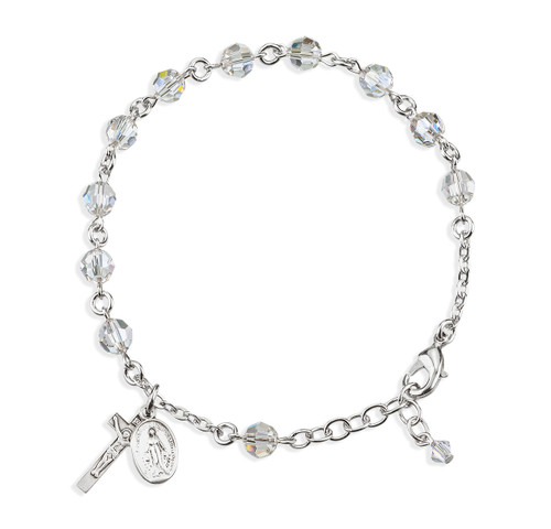 Rosary Bracelet Created with 6mm Clear Swarovski Crystal Round Beads