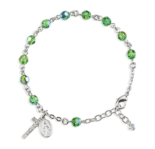 Rosary Bracelet Created with 6mm Erinite Swarovski Crystal Round Beads