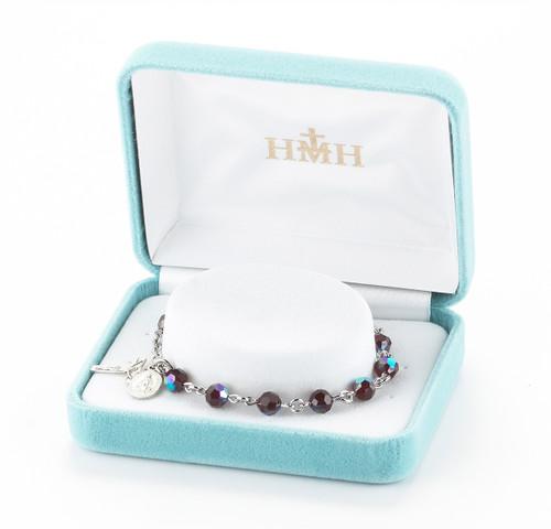 Rosary Bracelet Created with 6mm Garnet Swarovski Crystal Round Beads