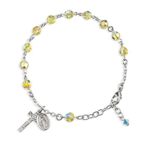 Rosary Bracelet Created with 6mm Jonquil Swarovski Crystal Round Beads