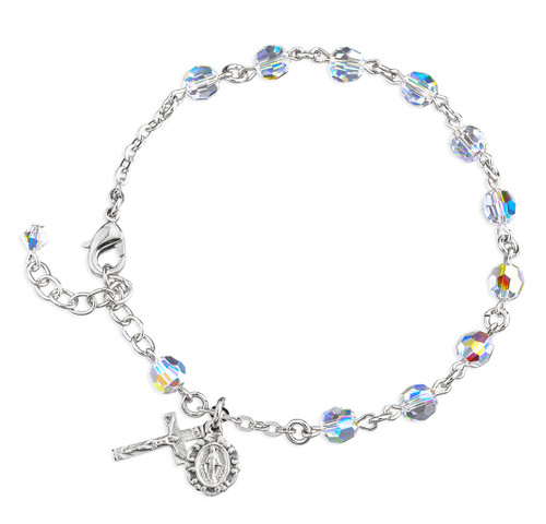 Round Crystal Rosary Bracelet Created with 6mm Swarovski Crystal Aurora Borealis Beads