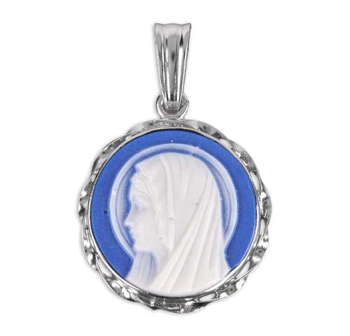 Blue Madonna Profile Cameo Medal