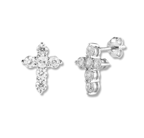 Sterling Cubic Zirconia Cross Earrings | 6 Zirconias