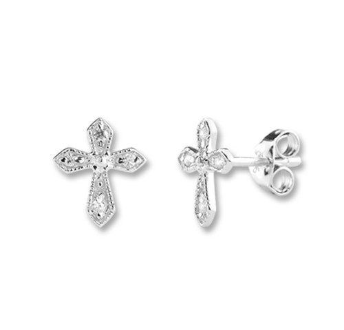 Sterling Cubic Zirconia Cross Earrings | 4 Zirconias
