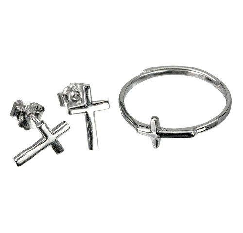 Sterling Silver Cross and Earring Ring Set