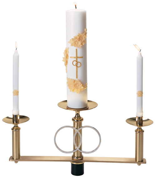 K477 Floor Wedding Candelabra Top Section   Solid Brass with Silver Plated Rings