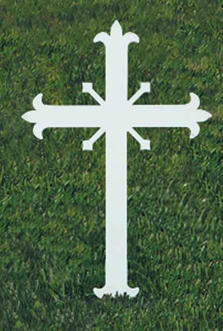 "K4157 Mini Fleur-de-lis Memorial Cross | 12""H | Steel"