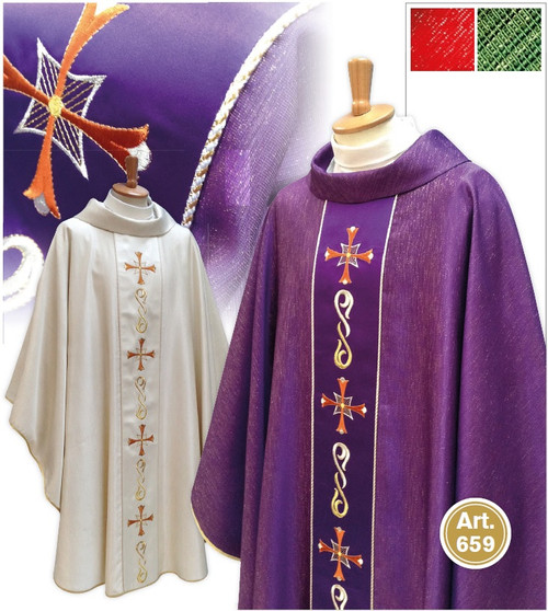 #659 Gold Embroidered Cross Chasuble | Roll Collar | Wool/Gold | All Colors