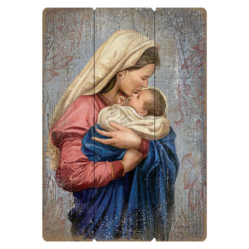 A Mother's Kiss: Madonna & Child Large Pallet Sign