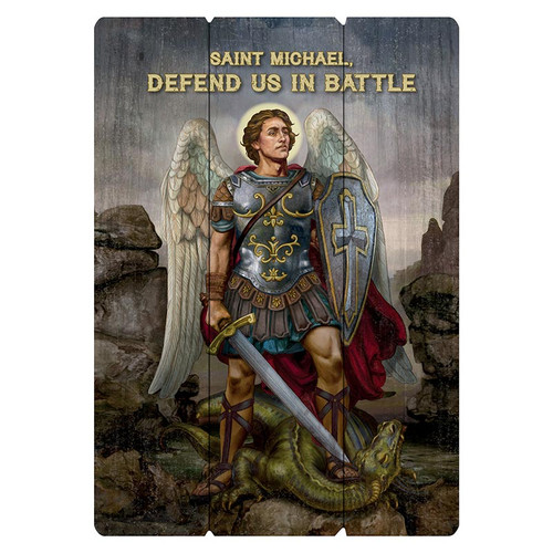 Saint Michael The Warrior Large Pallet Sign