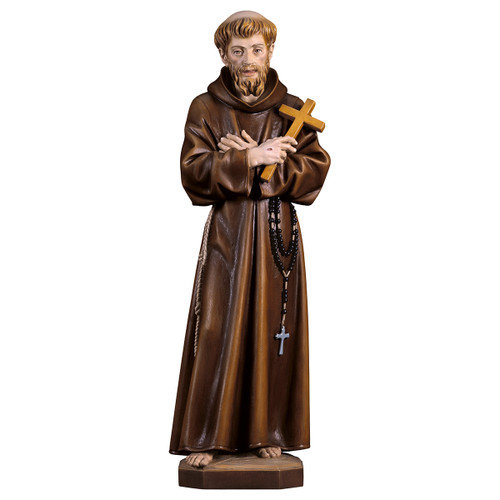 St. Francis of Assisi with Cross Statue | Hand Carved In Italy | Multiple Sizes