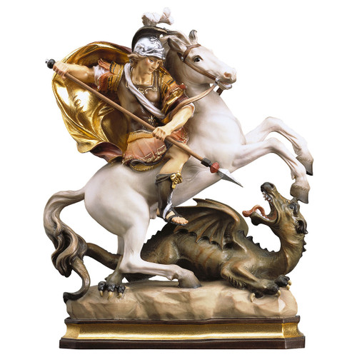 St. George on Horse with Dragon Statue | Hand Carved In Italy | Multiple Sizes