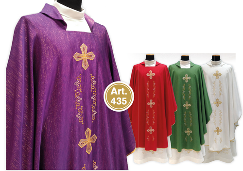 #435 Gold Embroidered Cross Chasuble | Square Collar | Wool/Gold Thread | All Colors