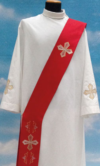 #435 Gold Embroidered Cross Deacon Stole | Wool/Gold Thread | All Colors