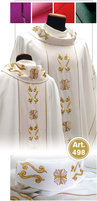 #498 Ornate Woven Gold Chasuble | Roll Collar | Viscose/Wool/Gold | All Colors