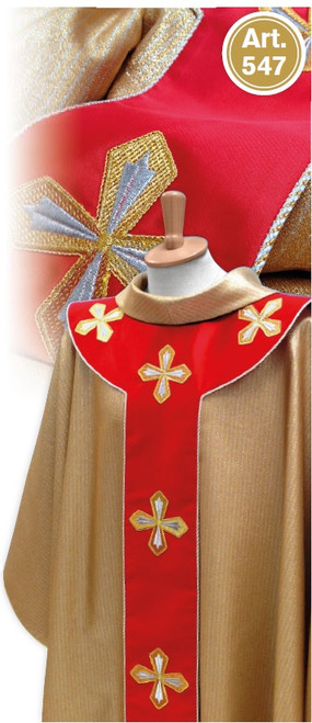#547 Gold Chasuble with Satin Scapular Panel | Roll Collar | Wool/Gold Thread