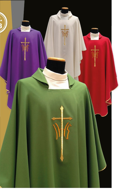 #518 IHS Cross Chasuble | Square Collar | 100% Poly | All Colors
