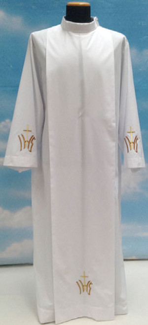 #0518 Embroidered IHS Cross Alb | Shoulder Zipper | Polyester