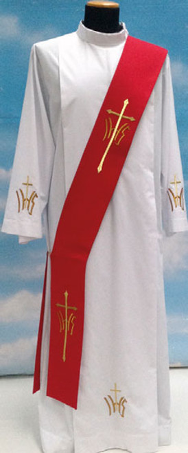 #518 Embroidered IHS Cross Deacon Stole | Polyester | All Colors