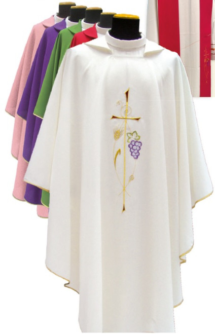 #581 Cross & Grapes Chasuble | Square Collar | 100% Poly | All Colors