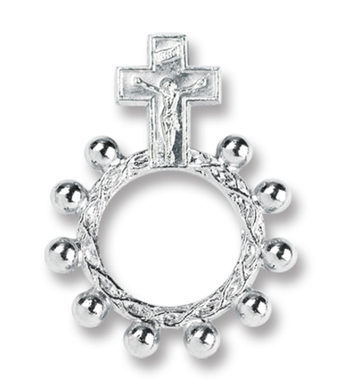 "1.5"" Silver Crucifix Rosary Ring"