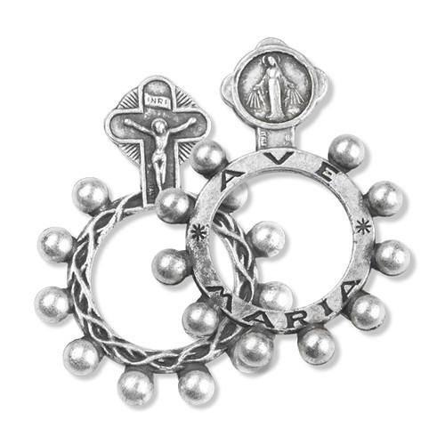 "1.5"" Oxidized Silver Miraculous Medal Rosary Ring"