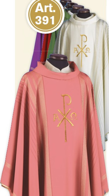 #391 Gold Embroidered Chi Rho Chasuble   Roll Collar   Wool/Gold Thread   All Colors